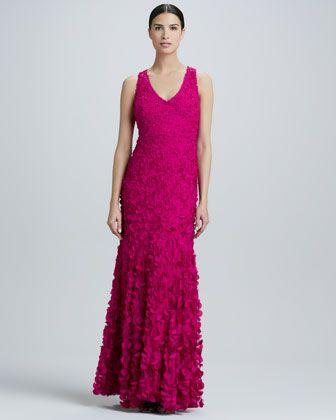 Theia V-Neck Petal Gown - Neiman Marcus - raspberry