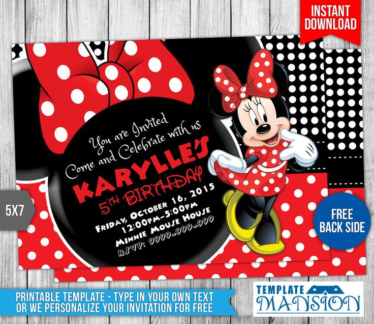Minnie Mouse Birthday Invitation Template #5 by templatemansion