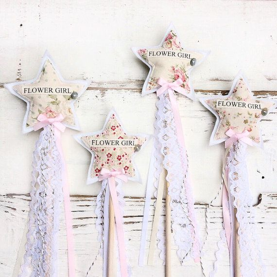 Flower Girl Wand  Floral Vintage Flower Girl by shopwillynilly