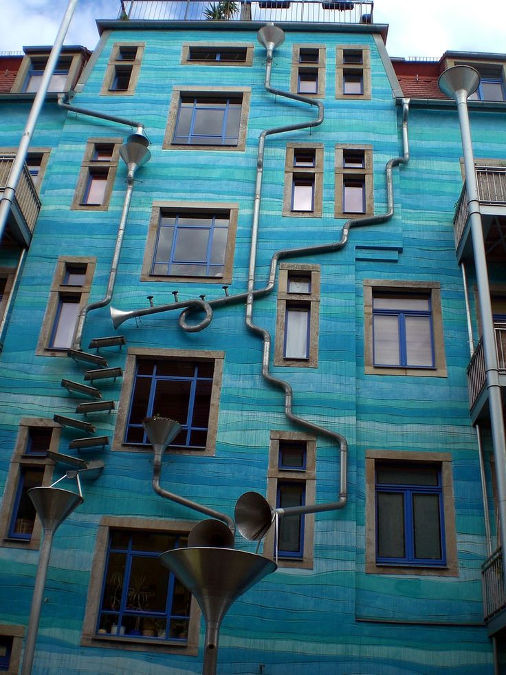 MUSICAL HOUSE... When the rain starts to fall, this colorful drain and gutter system attached to the outside of a building in the Neustadt Kunsthofpassage turn into charming musical instruments. The Funnel Wall is one of the strangest and most enjoyable attractions in Dresden's student district in the new town.