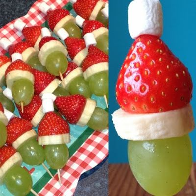 Foodie Quine: Grinch Kebabs How the Grinch Stole Christmas Christmas Party Food Healthy
