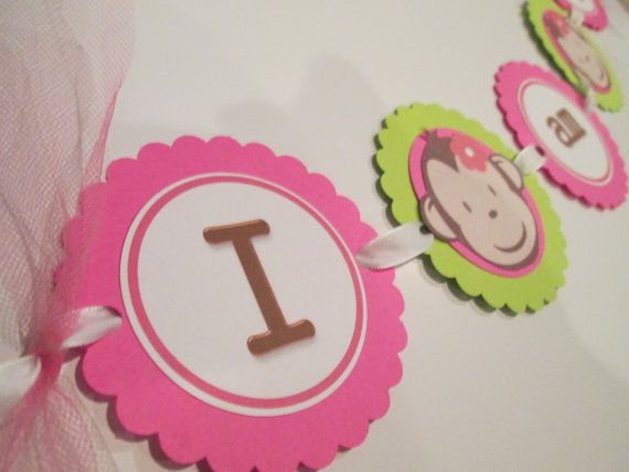 "This One! Girl Pink Mod Monkey Highchair Birthday Banner ""I am 1""  - Can be personalized on Etsy, $7.99"