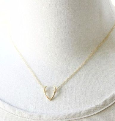 Gold or Silver Deer Antler Necklace