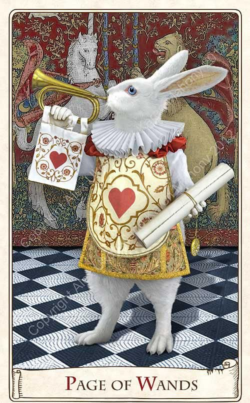 *WHITE RABBIT ~ Page of Wands from the Alice Tarot by Baba Studio (not released yet)
