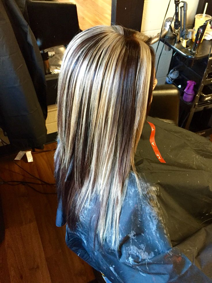 Chunky Blonde Highlight With All Over Mocha Brown Hair