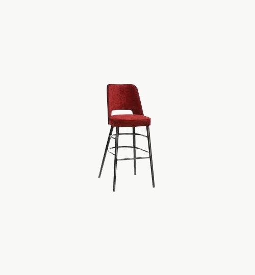 Tygklädd barstol i retro design, många tyger att välja på. Finns även som stol. Extra knappar i ryggparti, tillkommer 90 kr exkl. moms. Barstolen är tillverkad i trä med bets samt med ett sittskal som är stoppat/klätt. Stolen väger 7,4 kg, vilket är ganska normalt för en barstol. Tyg Lido 100 % polyester, brandklassad. Tyg Luxury, 100 % polyester, brandklassad. Konstläder Pisa, brandklassad, 88,5% PVC, 11,5% polyester.