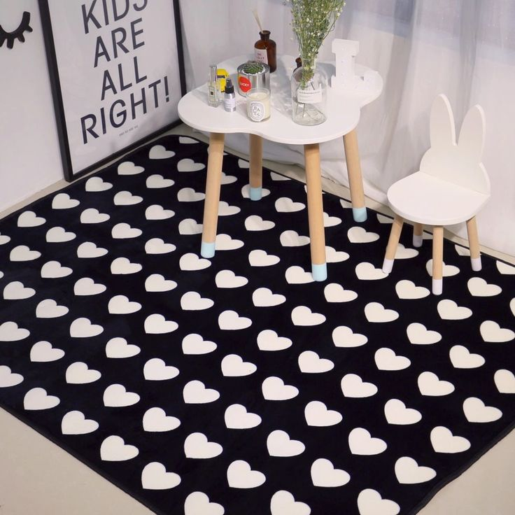 Black and white doormat for kitchen,soft flannel heart carpet,multi-size Area Rug,anti-slip modern floor mat bedroom carpet