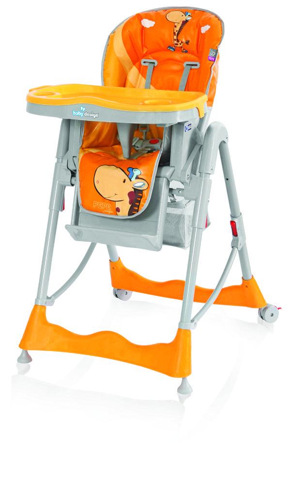 Scaunul Masa Baby Design Pepe este practic si usor de utilizat datorita picioarelor care sunt dotate cu roti. De asemenea, poate fi pliat si depozitat fara a ocupa prea mult spatiu. Scaunul de masa Baby Design, dispune de un suport pentru picioare care ii ofera copilului dumneavoastra un plus de confort si de doua tavite detasabile, care pot fi inlaturate pentru curatare. Inaltimea, spatarul si sezutul scaunului sunt reglabile, pentru a putea corespunde nevoilor dumneavoastra.