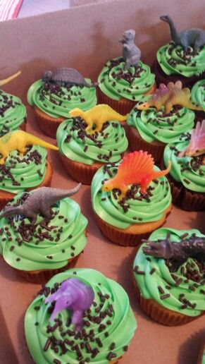 Cover cakes with dinosaurs