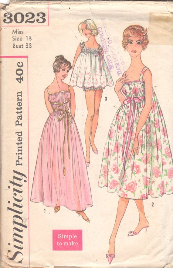Simplicity 3023 1950s Misses Grecian Nightgown Negligee and Baby Doll Pajamas womens vintage sewing pattern by mbchills on Etsy