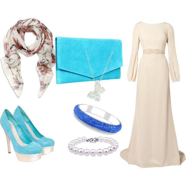 I would have my scarf the same color as my purse and dress :)