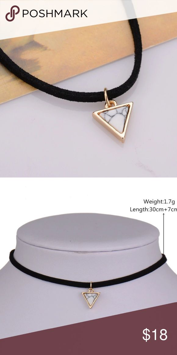 Super Cute Black Choker with Triangle Marble Charm A beautiful choker! A cute everyday piece. Not free people just listed for exposure Free People Jewelry Necklaces