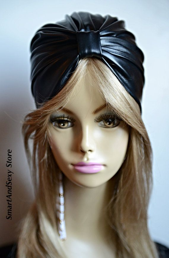 Black Turban Leather style Latex Turban Fitted by SmartAndSexy