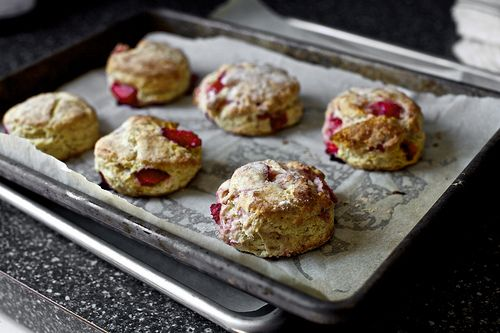 strawberry and cream biscuits - could easily be made vegan by using earth balance and coconut milk.
