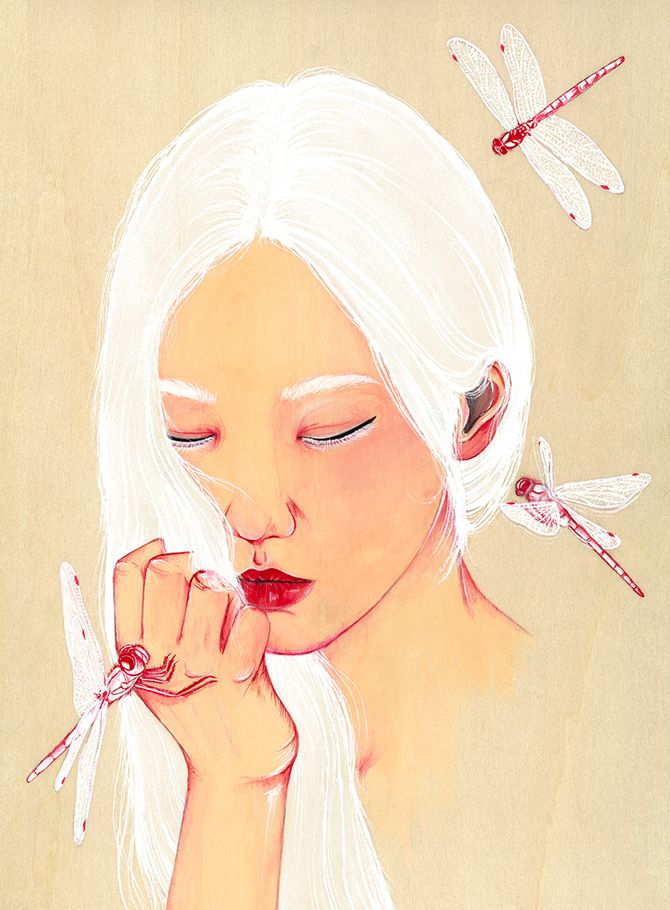 Peony Yip (also known under her pseudonym 'The White Deer') is an illustrator living and working in Hong Kong. In her work Peony combines beautifully drawn portraits of women (just look at the hair!) with natural elements like flowers, insects and animals. Peony often adds digital elements to her hand-drawn work: the stern shapes and …