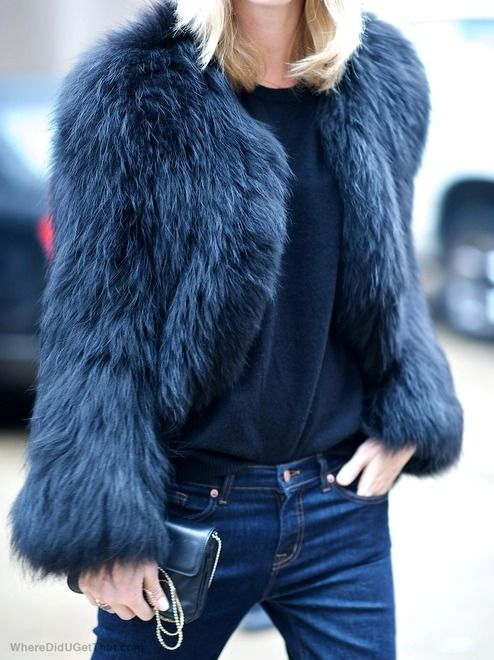 Fashion : Fall / Winter. Navy blue fur jacket.: