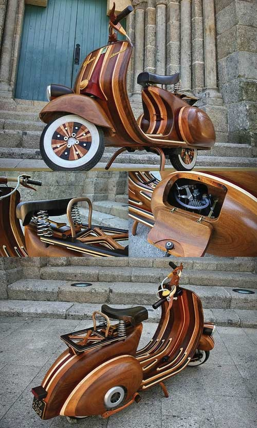 Wooden Vespa Scooter by Carlos Alberto I'm not a fan of scooters but you gotta admit this one is cool.