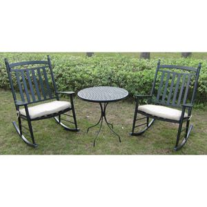 Oversized Rocking Chair 3 Piece Outdoor Bistro Set Seats 2 Home