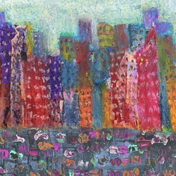 @Overstock - Artist: Ankan    Title: City Landscape 4    Product type: Gallery-wrapped canvas http://www.overstock.com/Home-Garden/Ankan-Colorful-City-4-Gallery-wrapped-Canvas-Art/6230641/product.html?CID=214117 CAD              81.77