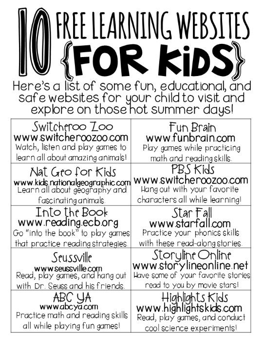 Educational Websites for kids Great to post at classroom computers, and to give parents at back-to-school night.