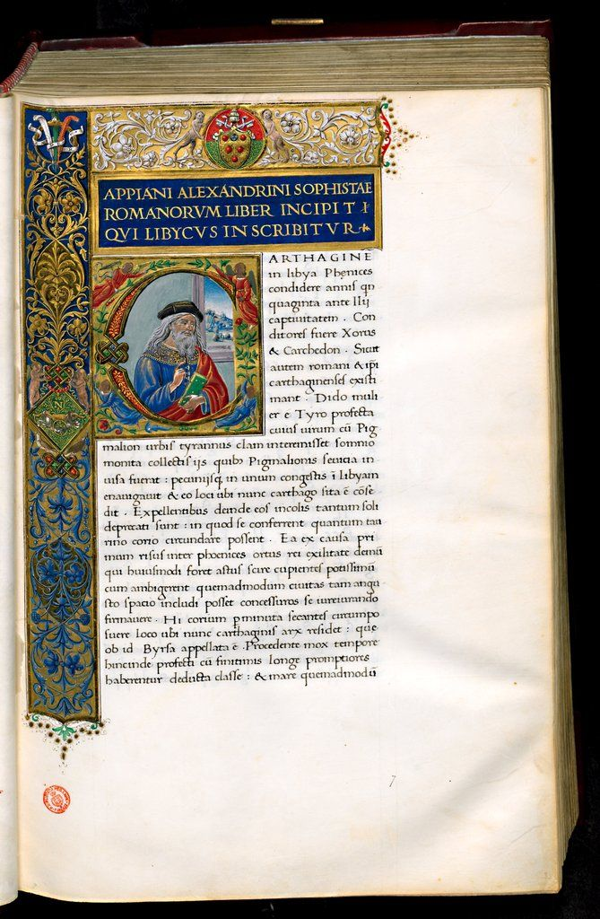 History of Rome. Historia by Appianus of Alexandria (circa 90−160) is a narrative of the history of Rome from the Republic (circa 509−27 BC) to the second century AD. The present codex, from the Plutei Collection of the Biblioteca Medicea Laurenziana in Florence, is a translation from the original Greek into Latin by Pier Candido Decembrio (1399−1477), commissioned by Pope Nicholas V (1397−1455).