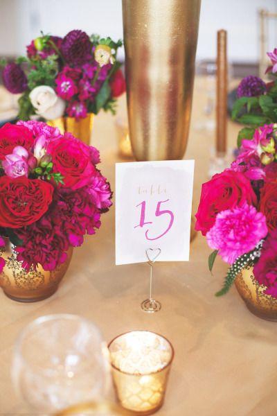 Hot pink and gold: http://www.stylemepretty.com/virginia-weddings/charlottesville/2015/03/16/elegant-pink-purple-wedding-inspiration-at-trump-winery/   Photography: Allison Hopperstad - www.allisonhopperstad.com