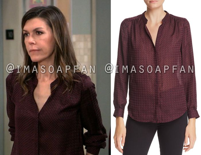 a47ae001513f6 Anna Devane s Purple Houndstooth Print Blouse - General Hospital ...