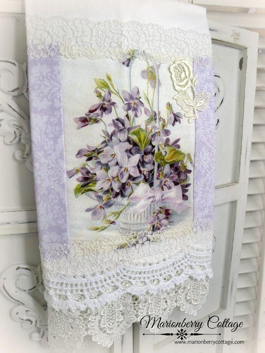 Guest tea towel Victorian Basket of Violets
