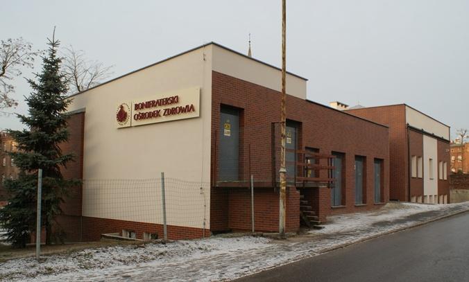 Elewacja Bonifraterskim Ośrodku Zdrowia w ramach którego funkcjonują Poradnie Specjalistyczne -  zakończenie prac grudzień 2012r.
