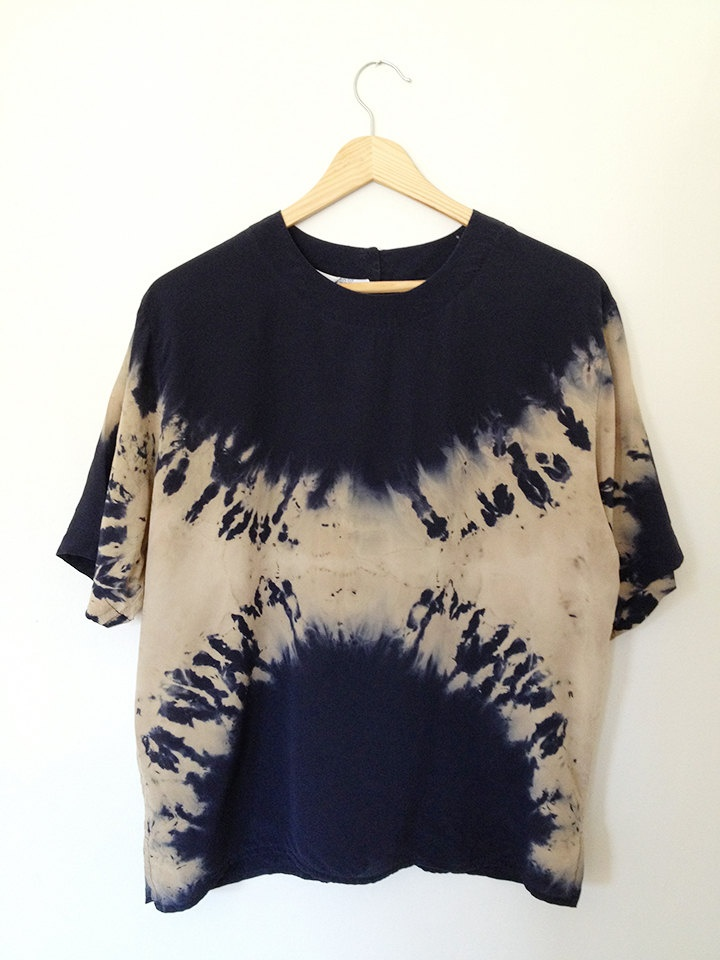 Navy Hand Dyed Shibori Top. $38.00, via Etsy.