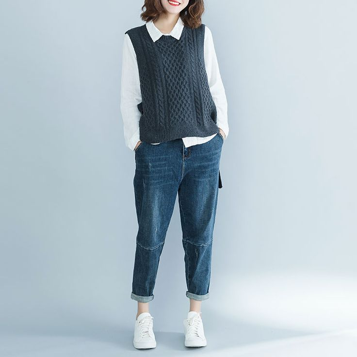 DIMANAF Women Sweater Sleeveless Vest Cotton Knitting Hollow Female Clothes Ladies Tops Vintage Plus Size Pullovers 2018 Winter