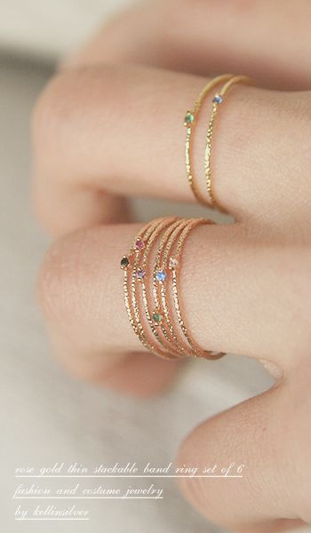 Add for kids CZ Rose Gold Thin Ring Band Set of 6 from Kellinsilver.com