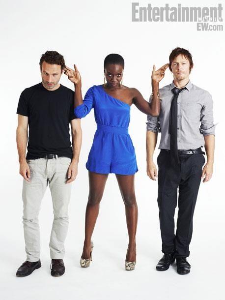 Andrew Lincoln (Rick Grimes), Danai Gurira (Michonne), Norman Reedus (Daryl Dixon) The Walking Dead cast
