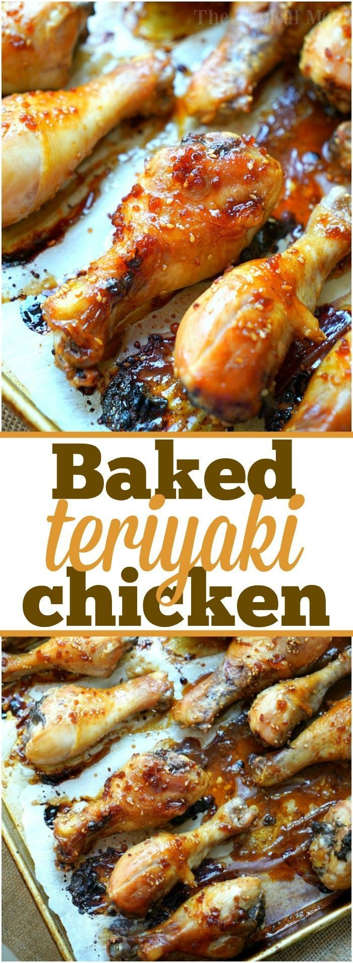 Baked teriyaki chicken drumsticks with an easy homemade sweet and spicy sauce you'll love! Moist chicken legs cooked in the oven in just about an hour.