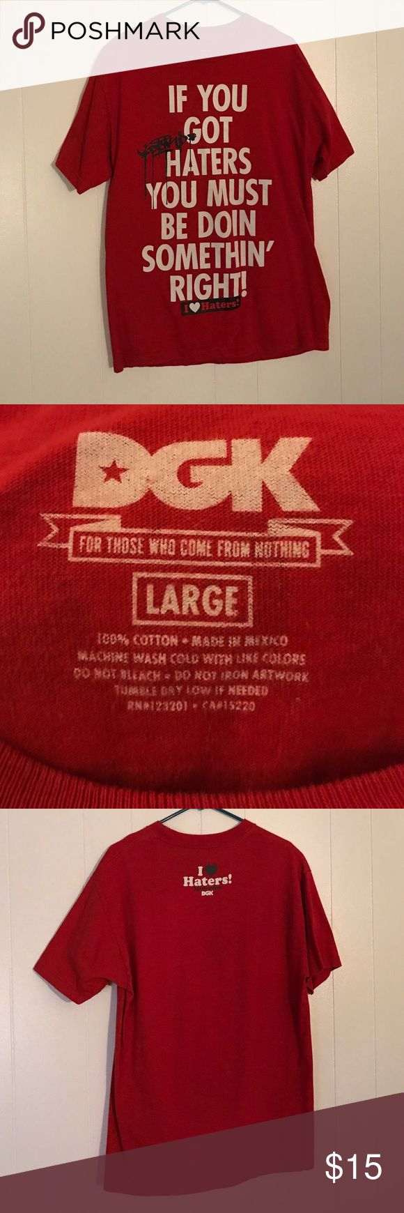 Men's Large Red DGK I ❤️Haters shirt Men's Large Red DGK(Dirty Ghetto Kids) I❤️HATERS shirt, only worn a handful of times. The lettering is still in perfect condition, no cracking or fading! DGK Shirts Tees - Short Sleeve