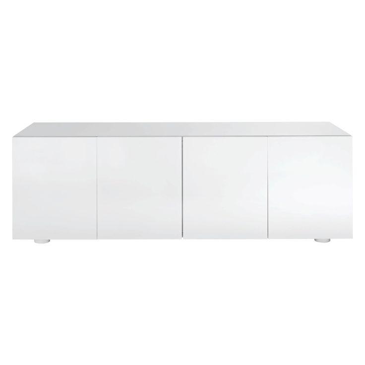 Best Aspen White High Gloss Long Cabinet Office Storage 400 x 300