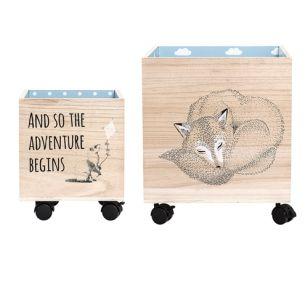 Förvaringslådor på hjul, 2-pack, Natur/Blå, Bloomingville