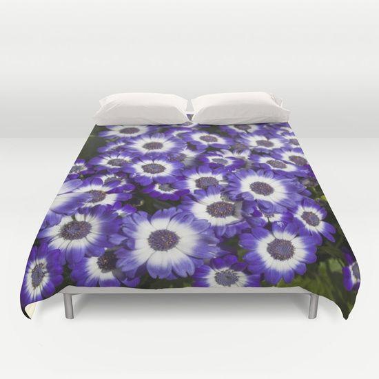 cineraria , purple, white, flowers, flower, duvet, cover