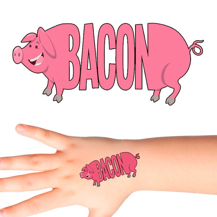 Bacon Pig Temporary Tattoo #1159 (30 pack)