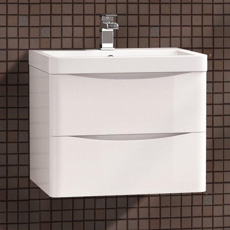 LYNDON 600 WALL HUNG WHITE GLOSS BATHROOM VANITY UNIT RESIN BASIN SINK CABINET