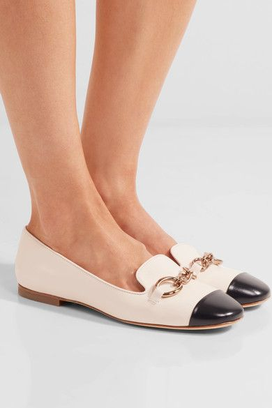 Tod's - Embellished Two-tone Leather Ballet Flats - Off-white - IT