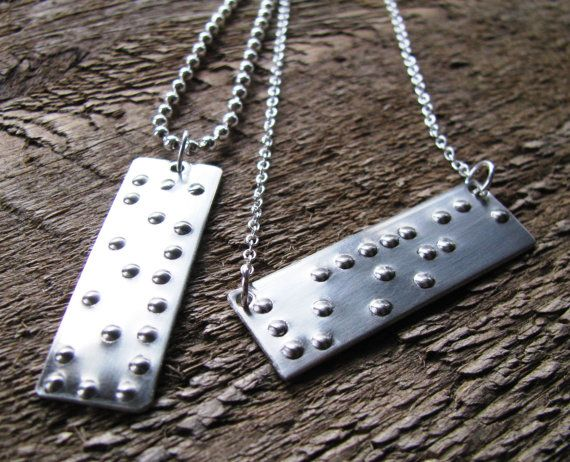 I love this! :) (I'd prefer it as a keychain) Braille His and Hers Secret Message- great anniversary or wedding gift!! on Etsy, $132.00His And Her Secret, Secret Messages Necklaces, Gift Ideas, Braille Necklaces, Braille Secret, Anniversaries, 2Sistershandcraft, Boyfriends Gift, Wedding Gifts