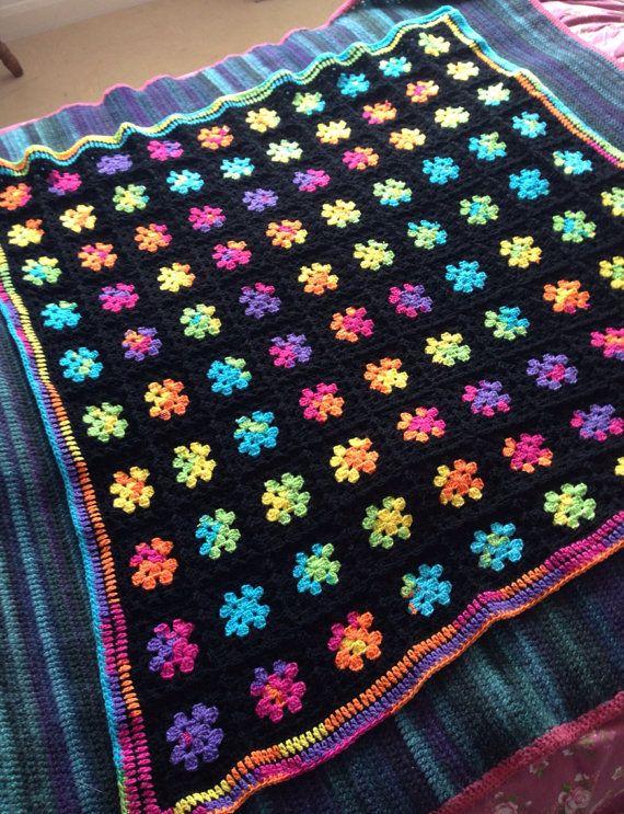 Rainbow and black Granny Square Crochet Blanket by MerryPeridot, £40.00