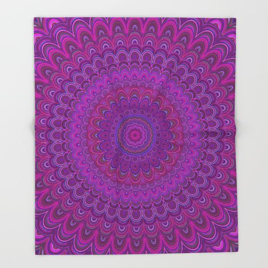 Purple flower mandala Throw Blanket by David Zydd | Society6