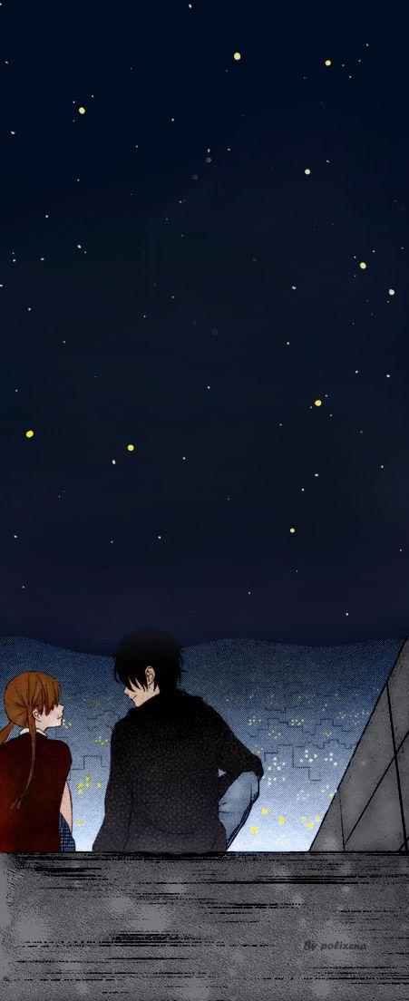 Haru and Shizuku from Tonari no kaibutsu-kun by Robiko Colorized by me