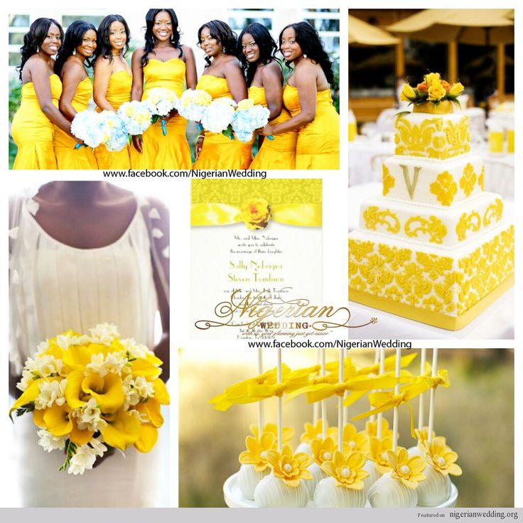Nigerian Wedding Colors: Black, White & Yellow Damask
