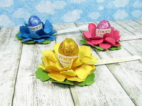 Nellis Stempeleien: Tischgoodie zu Ostern mit der BigZ Stanze Originals Blüten von Stampin' UP. Der Gruß stammt aus dem Set Gast-freundlich