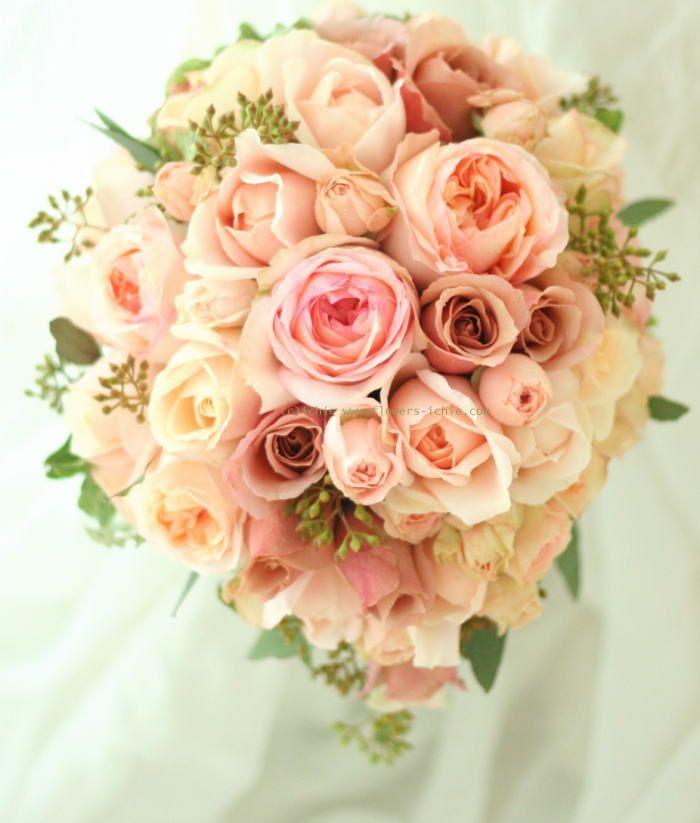 ブーケ ティアドロップ アプリコットと紅茶 : 一会 ウエディングの花