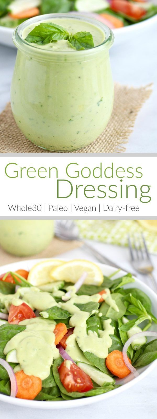 Made with just 6-ingredients, this Green Goddess Dressing is quick to make, full of flavor and will turn any boring salad into something sensational | Vegan dressing | Paleo dressing | Egg-free dressing | Dairy-free dressing | Whole30 dressing | healthy dressing || The Real Food Dietitians #healthydressing #whole30recipe #whole30dressing #vegandressing