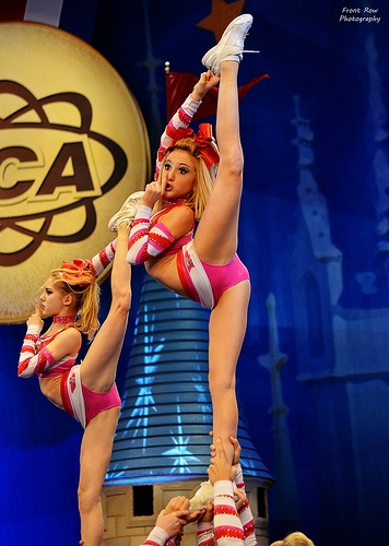 pink uniforms! #cheer #cheerleading #uca #nca #stunt #competition #worlds #allstar #scorpion #needle #strength #flexibility